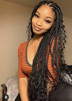 61 Totally Chic And Colorful Box Braids Hairstyles To Wear! Box Braids Hairstyles, Black Girl Braided Hairstyles, Baddie Hairstyles, My Hairstyle, Girl Hairstyles, Fringe Hairstyles, Quick Hairstyles, Protective Hairstyles, School Hairstyles