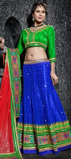 165856, Mehendi & Sangeet Lehenga, Net, Sequence, Resham, Stone, Lace, Blue, Red and Maroon Color Family