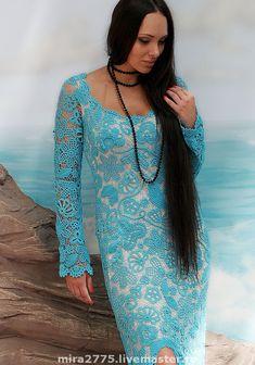 """Купить платье """"Афродита"""" - ирландское кружево, платье вязаное, вечернее платье, вязаное платье крючком"""