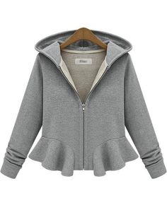 Grey Hooded Long Sleeve Ruffle Crop Outerwear - Fashion Clothing, Latest Street Fashion At Abaday.com