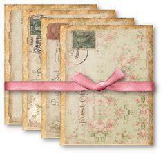A4 Vintage Floral Postcards  Digital Collage Sheet by vintagebyme, $4.50