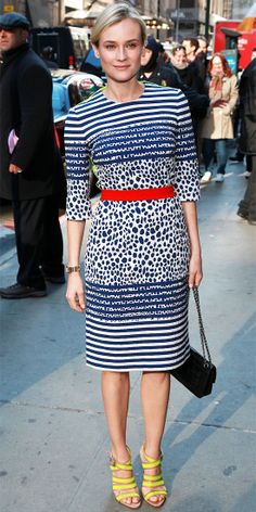 Diane Kruger visited Good Morning America in a printed sheath, chainstrap bag and neon heels.