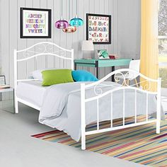Metal Platform Bed Frame Twin Size Steel Mattress Foundation Kids Teen Bedroom Home Furniture White -- Read more reviews of the product by visiting the link on the image.