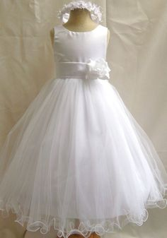 NEW WHITE PAGEANT PRINCESS FORMAL COMMUNION FLOWER GIRL DRESS 1 2 4 6 8 10 12 14