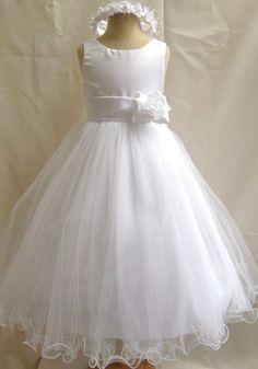 NEW WHITE PAGEANT PRINCESS FORMAL COMMUNION FLOWER GIRL DRESS 1 2 4 6 8 10 12 14
