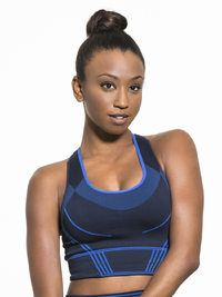 Mesh Inset Seamless Medium Support Sport Bra in Black by Thirty8 from Carbon38