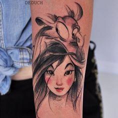 Mulan tattoo by Camila Deduch. CamilaDeduch mulan disney disneyprincess chinese sketch waltdisney