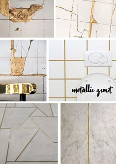 metallic grout gold and copper mettlaic grout become very popular and gold grout or copper grout can be a budget idea to add sparkle to your ordinary white tiles or paired with marble tiles is amazing. This is based on kitsugu japanese trend on repair what's broken with gold!