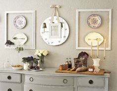 frames, dishes, sideboard, mirror