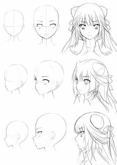 anime girl head drawing – – Cheveux – Dessin - Anime World 2020 Manga Drawing Tutorials, Manga Tutorial, Drawing Techniques, Drawing Tips, Manga Girl Drawing, Anime Face Drawing, Little Girl Drawing, Sketch Drawing, Drawing Lessons