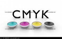 CMYK inks liquid drop concept screen image printing