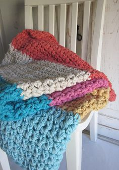 Chunky cotton crochet throw