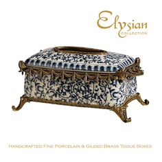Classic blue & white floral crackle finish porcelain & brass tissue box www.elysiancollection.com.au