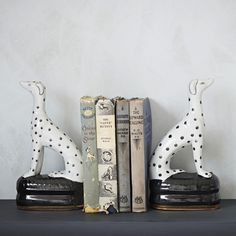ceramic Dalmatian bookends