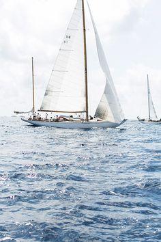 Sailing on the sea.