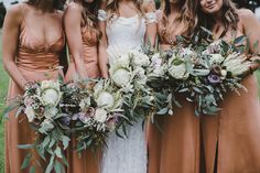 Gorgeous exotic Protea Bride and Bridesmaid bouquets for your autumn wedding. Protea Wedding, White Wedding Bouquets, Bridesmaid Flowers, Brides And Bridesmaids, Flower Bouquet Wedding, Protea Flower, Wedding Centrepieces, Boquet, Bridal Bouquets