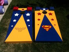 Idea… Maybe cover the existing cornhole boards with Wonder Woman decorated paper? Custom Cornhole Boards, Cornhole Set, Backyard Solar Lights, Cornhole Designs, Wonder Woman Party, Corn Hole Game, Xmas Presents, Cute Gifts, Party Ideas