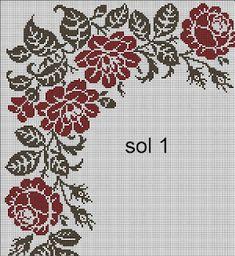 Cross Stitch Pillow, Cross Stitch Rose, Cross Stitch Flowers, Cross Stitch Designs, Cross Stitch Patterns, Motifs Roses, Prayer Rug, Crochet Diagram, Brick Stitch