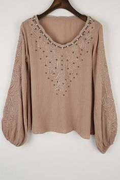 Long Sleeve Embroidered Beading Blouse