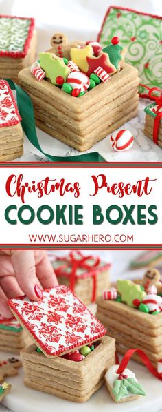 Christmas Present Cookie Boxes - edible brown sugar cookie boxes, filled with treats and beautifully decorated! | From SugarHero.com  #christmas #cookies #cookieboxes #christmascookie #christmasdessert