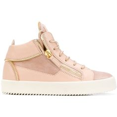 Giuseppe Zanotti Design May London Leather Hi-Top Sneaker ($775) ❤ liked on Polyvore featuring shoes, sneakers, pink, high-top sneakers, leather hi tops, pink leather shoes, giuseppe zanotti shoes and giuseppe zanotti sneakers