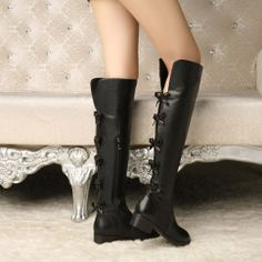 Color: Black Toe Shape: Round Heel shape: square with Thickness: Normal thickness Applicable Gender: Female Upper Material: first layer of calfskin Sole Material: Rubber The way they dress: side zipper Tube high: Knee Pattern: Solid Fashion boots paragraph: Knight Popular elements: bow...
