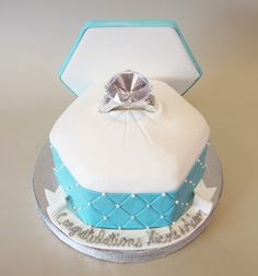 Quilted Engagement Ring Box Cake   www.realbuttercream.com
