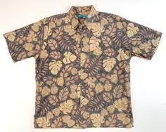 6ffff4e7 Tori Richard Mens Tree Leaves Short Sleeve Hawaiian Shirt Cotton Lawn USA L  | eBay