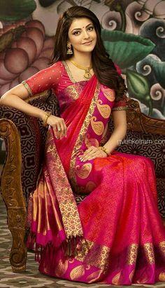 kajal agarwal in red saree Indian Dresses, Indian Outfits, Covet Fashion, Fashion Jewellery, Fashion Tips, Moda Indiana, Latest Silk Sarees, Bridal Silk Saree, Saree Wedding