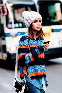 Miroslava Duma street style with cozy sweater and Chanel Boy bag. #miroslavaduma