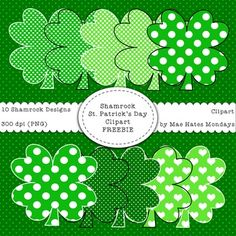 St. Patrick's Day Shamrock Clipart FreebieMake your St. Patrick's Day products, activities and presentations stand out using the Mae Hates Mondays Shamrock Clipart.What You Get:~ 10 hand-drawn Shamrock Clipart designs (300dpi) with a transparent background.Check out my full pack of St.