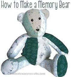 Sewing Teddy Bear Teddy Bear Pattern From Baby Sleepers: how to make a memory bear . Memory Crafts, Baby Crafts, Softies, Sewing Crafts, Sewing Projects, Memory Pillows, Memory Quilts, Memory Pillow From Shirt, Ideas Hogar