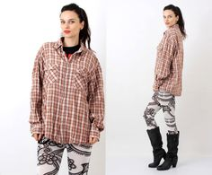 Vintage Levi Strauss Cotton Plaid Western Hipster Shirt Size L / XL by Ramaci on Etsy