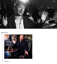 Oh wow... this is the most perfect gif set ever. #BenedictCumberbatch #MartinFreeman. Source: http://the-iou-apple.tumblr.com/post/51151824607/ladyavenal-i-had-to