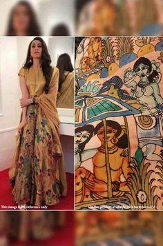 Multicolor Pure silk Kalamk... Kalamkari Fabric, Silk Fabric, Chanderi Silk Saree, Silk Sarees, Dress Out, Celebrity Look, Look Alike, Exclusive Collection, Pure Silk
