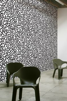Pattern Wall Tiles bring bursts of pattern into standard home and office spaces in a whole new way. With Pattern Wall Tiles, you can create an accent over a bed, on an interior door or frame a small s Pattern Wall, Wall Patterns, Keith Haring, Stick On Wall Tiles, Patterned Wall Tiles, Office Walls, Office Spaces, Creation Deco, Wall Drawing