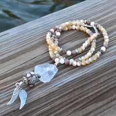 Crystal Quartz Raw Pendant Necklace  Mother of by MayanRoseShop