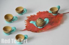 Nature Crafts - Acorn Tea Set for Fairies and Dolls
