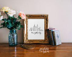 New York Art Print, Printable art wall decor, new york city illustration skyline poster art - hand drawn whimsical graphic calligraphy