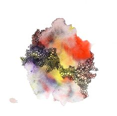 abstract watercolor art print in red yellow by BrownBearStudio, $25.00