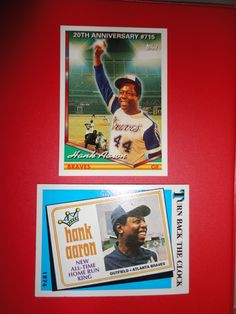 ** 2 OLD Hank Aaron Baseball Cards - Atlanta Braves **