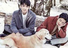 C H A N Y E O L & S E H U N • • • • #sehun #exo #kpop #naturerepublic #chanyeol #dog #labrador