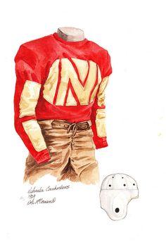 Husker Football | Nebraska Cornhuskers 1929 Football Uniform Artwork....
