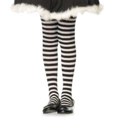 Leg Avenue 181155 Child- Black-White Striped Tights