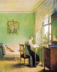 Georg Friedrich Kersting (1785–1847)   TitleEmbroidery woman Description Deutsch: 1. Fassung 1812. Dargestellt ist Louise Seidler. Date1812