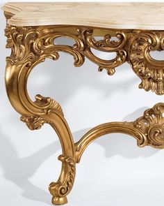 luxury furniture - consoles - Louis XV style carved wood console table with antique gold leaf finish and Calacotta gold marble top, made in Italy