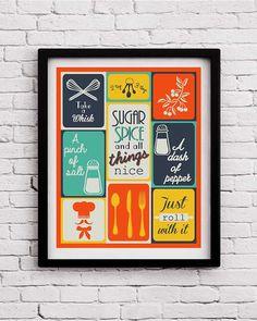 Retro Kitchen decor,kitchen print,kitchen wall art,kitchen print set, kitchen decoration,kitchen poster,housewarming gift,living room decor by BlackPelican