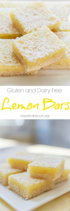 Gluten and Dairy Free Lemon Bars with the best shortbread base ever! |visit teabiscuit.org for more gluten free recipes