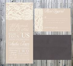 Shabby Chic Vintage Lace Wedding Invitation and Response Card