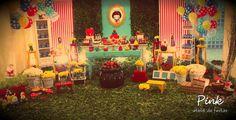 Pink Atelie de Festas's Birthday / Snow White - Snow White Forest at Catch My Party Snow White Photos, Snow White Birthday, Baby First Birthday, Woodland Party, I Party, Party Ideas, Princess Party, First Birthdays, Birthday Parties